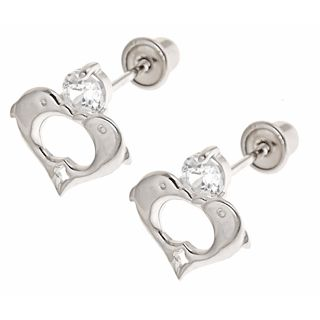 14K White Gold Heart Dolphin Screwback Earrings for Girls from www.thejewelryvine.com