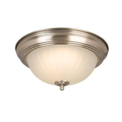 Commercial Electric Twin Pack Brushed Nickel LED Flushmount-HQV8011L/BN - The Home Depot