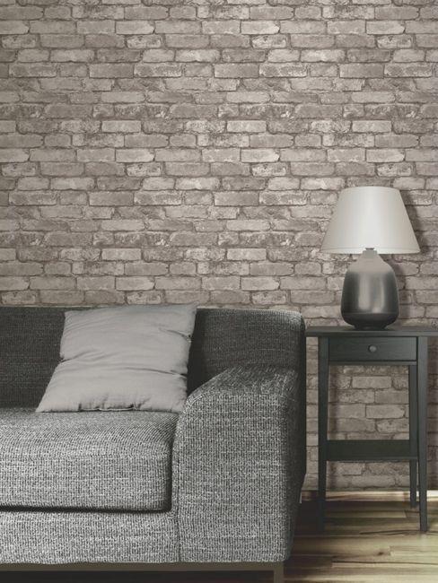Silver Grey Brick Effect Wallpaper - Fine Decor
