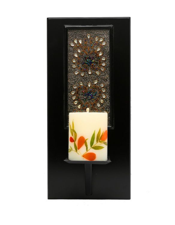 Masterpiece rectangular shaped wall sconce.   Handcrafted in Kundan Zardozi work.   The candle light , as it emanate and diffuses, well, the illuminated Kundan work adds a Wow factor to your wall décor.   ( Shipped without the Candle).