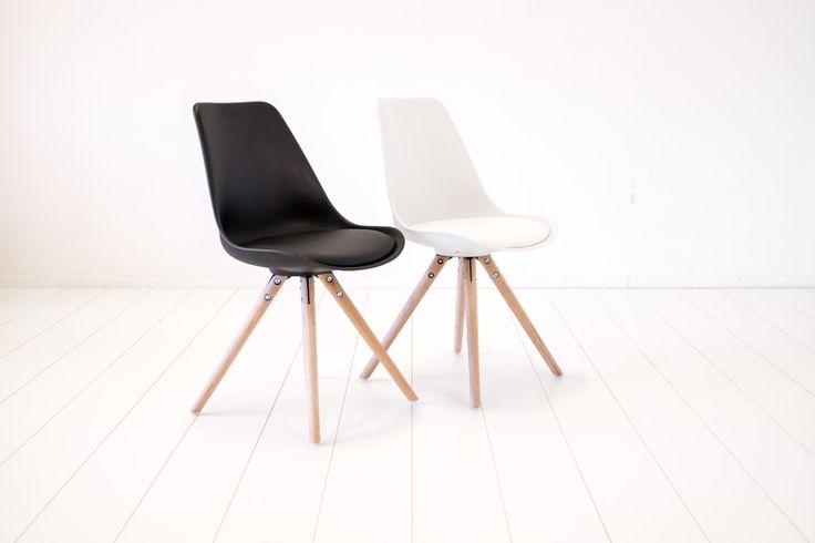 Canvas Studios Pandrup eetkamerstoel zuiver wit / eiken