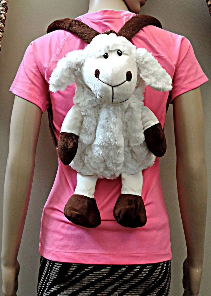 Sheep stuffed Animal Backpack, Fluffy Children lunch bag Toy Age 2-8yrs New #XTIROYAL