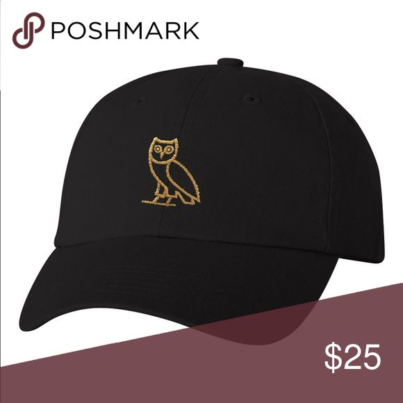 OVO Classic Owl Black/Gold Dad Cap Unisex Stitched/Embroidered Adjustable strap for a perfect fit.   (Due to dye and wash process there may be some slight variation in color and sizing) If you have any further questions just contact us and we will be happy to assist you! Accessories Hats