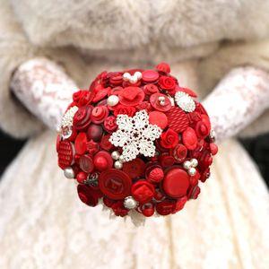 Valentines Wedding Button Bouquet