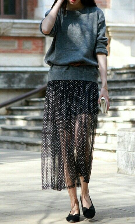 This Skirt and light sweater.