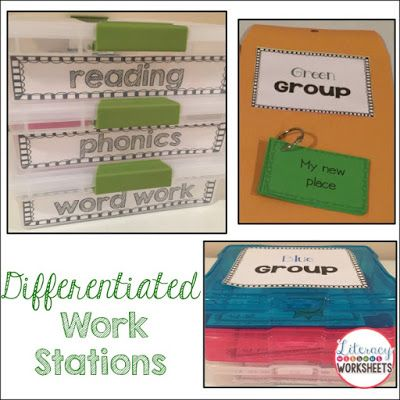 Differentiating Literacy Work Stations!  Easy to implement ideas that will help save you time!  Help save time and sanity!!