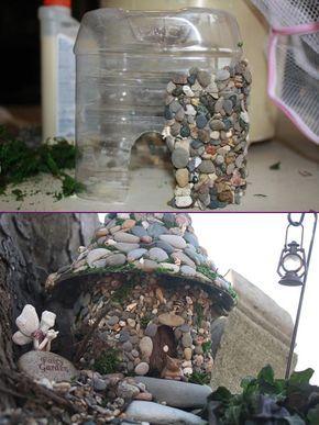 Casa delle fate di pietra fai-da-te dall'esercitazione sulle bottiglie di plastica | WWW.FabArtDIY.com #Artigianato, …