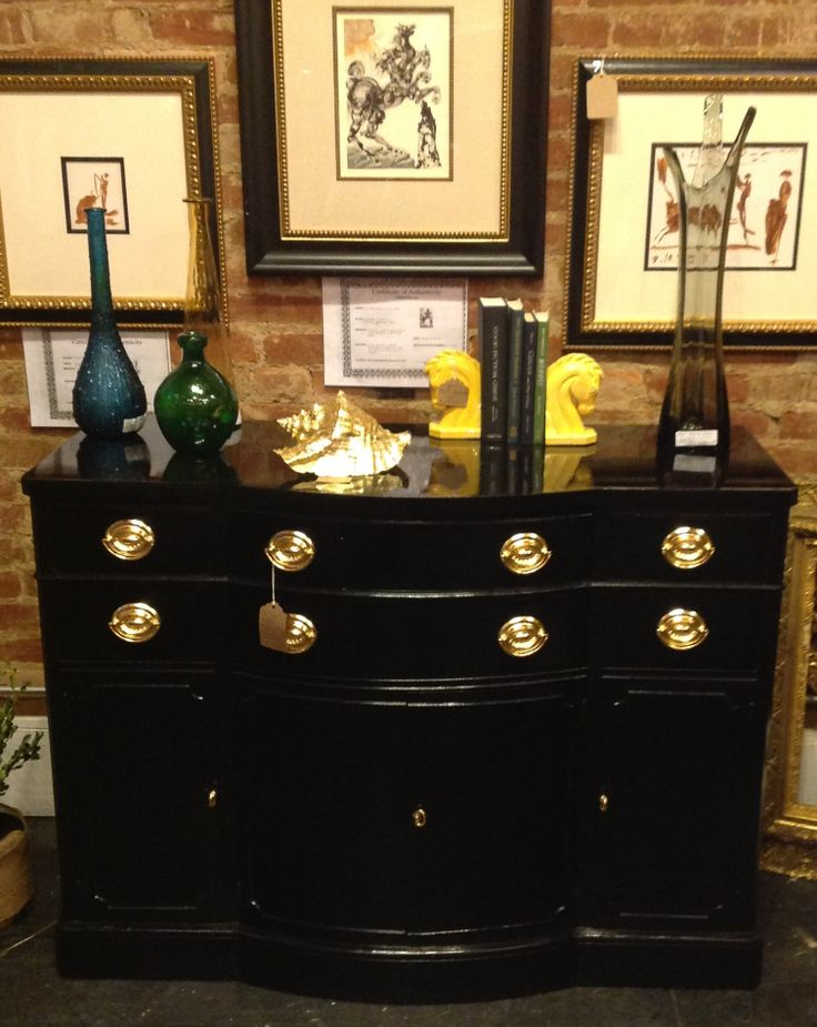 Black Lacquer Buffet With Gilded Hardware Vintage 1940s Drexel