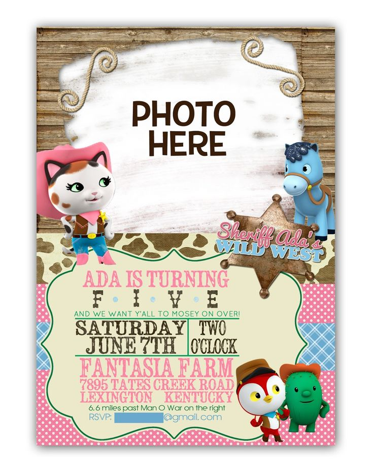 Sheriff Callie Invitation - $10 digital file or $1.34 each printed (with white envelopes) by M|K Designs