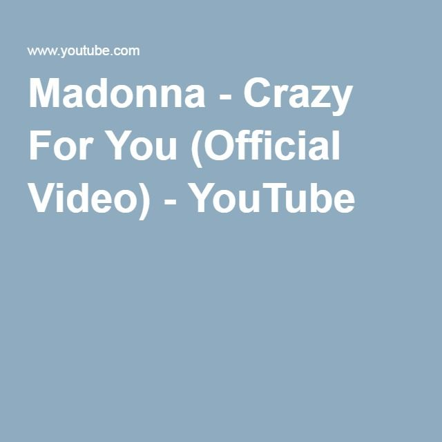 Madonna - Crazy For You (Official Video) - YouTube