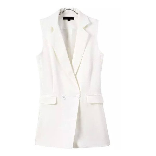 SheIn(sheinside) White Notch Lapel Buttons Vest Jumpsuit ($27) ❤ liked on Polyvore featuring jumpsuits, jackets, white, jump suit, jumpsuits and rompers, jumpsuits & rompers, white sleeveless jumpsuit and white jump suit
