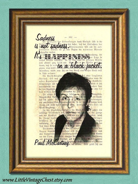 Black Friday! Buy 1 Get 2! - PAUL McCARTNEY Beatles  SADNESS  Dictionary by littlevintagechest, $7.99