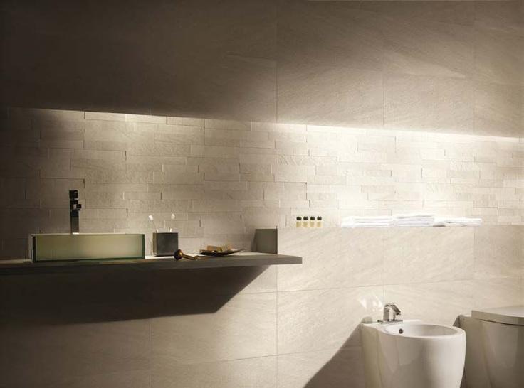 Stockholm piastrelle effetto pietra mandel 30x60 realizzazione ambientazione bagno la - Piastrelle pietra bagno ...
