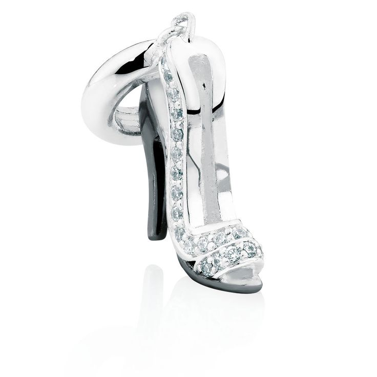 This opulent sterling silver high heel dangle charm will stand out in your collection. The stunning design showcases a black heel, and is set with glittering cubic zirconias for added luxury. Exclusive to Emma & Roe.
