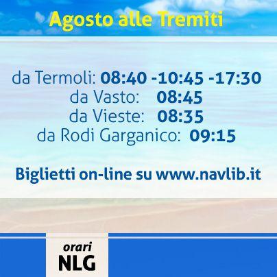 Oggi menzioniamo tutti gli orari di partenza dei porti dai quali raggiungere le Tremiti a bordo dei nostri jet. Vi aspettiamo!!!