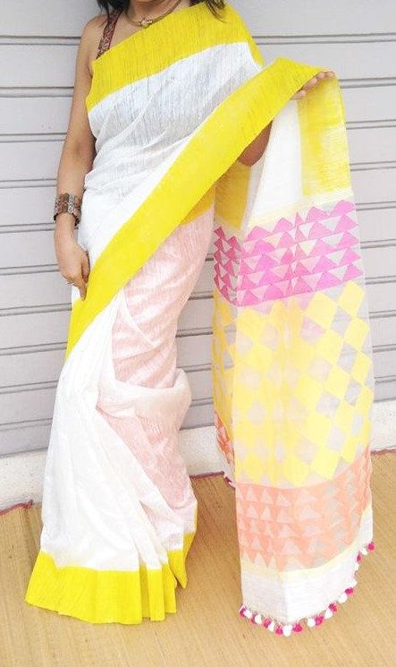 Free shipping! Pure matka silk sari with jamdani weave on resham pallu by…