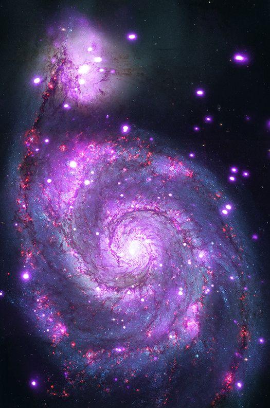 The Whirlpool galaxy seen in both optical (red, green and blue) and X-ray (purple) light. Image Credit: X-ray: NASA/CXC/Wesleyan Univ./R.Kilgard, et al; Optical: NASA/STScI