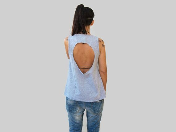 Gray loose backless summer top / sexy women top / fish applique cotton top / open back women top / gift for her / women summer cotton top