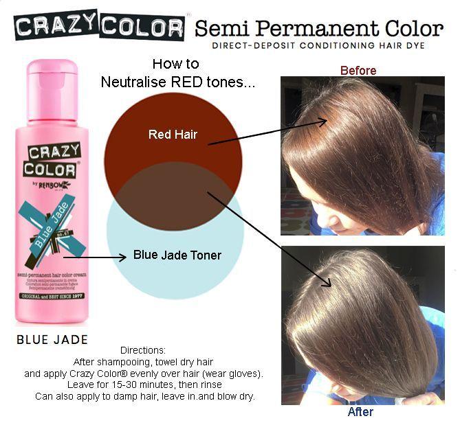 Crazy Colour Semi Permanent Ash Brown Blue Green Teal Toner