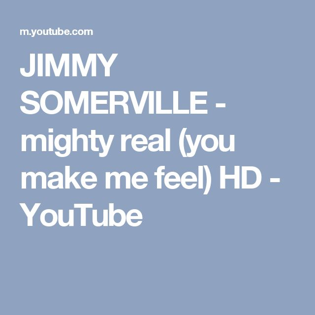 JIMMY SOMERVILLE - mighty real (you make me feel)  HD - YouTube