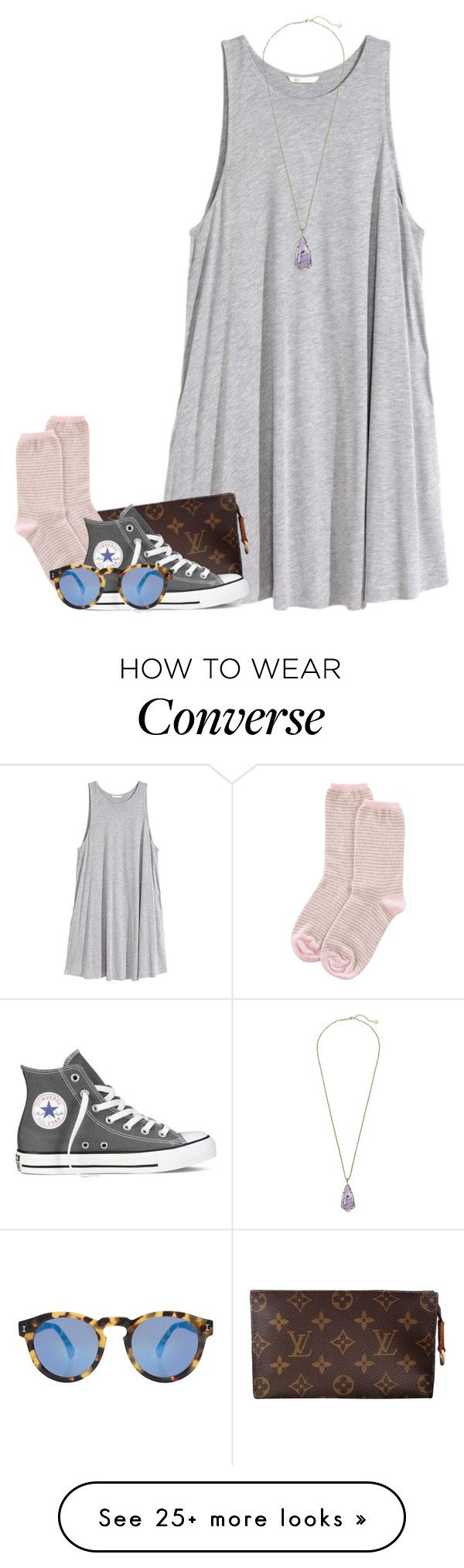 """day 2"" by conleighh on Polyvore featuring H&M, Louis Vuitton, Johnstons of Elgin, Converse, Illesteva, Kendra Scott and itssummertimemh"