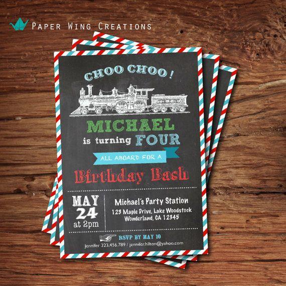 Vintage Train Boy Birthday Invitation Chalkboard Invite Kids Birthady First 1st Printable Digital KB20