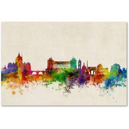 Trademark Fine Art Rome Italy Skyline Beige Canvas Art by Michael Tompsett, Size: 12 x 19, Multicolor