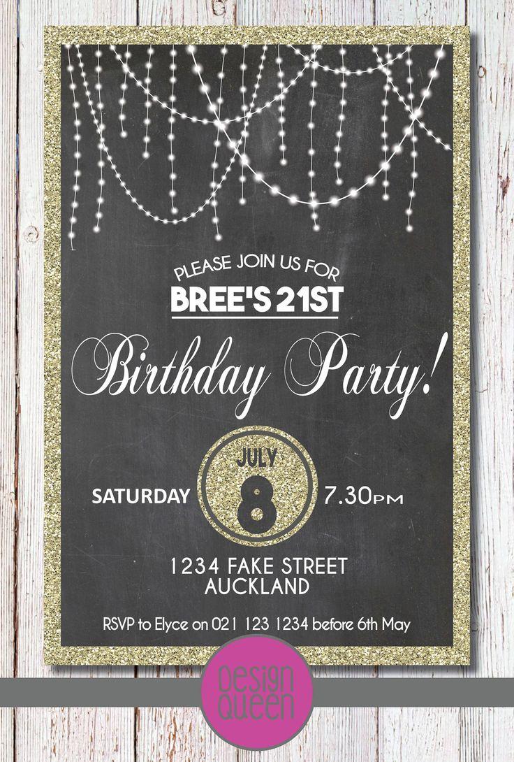 Bright Lights with Gold Glitter Birthday Invitation - YOU PRINT custom birthday party invite by QueenOfAdmin on Etsy