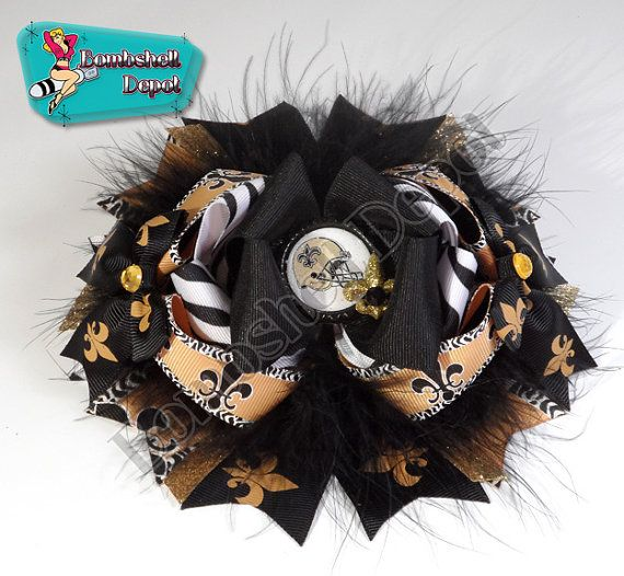Saints OTT/Boutique Bow $12 made by Bombshell Depot  http://www.etsy.com/listing/163553687/new-orleans-saints-themed-ottboutique?ref=listing-shop-header-1