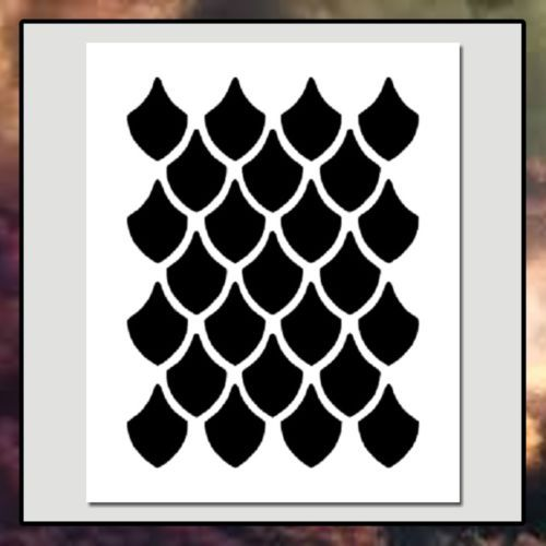 Seamless-Dragon-Scale-Pattern-STENCIL-3-sizes-available-Fantasy-Creature-Reptile