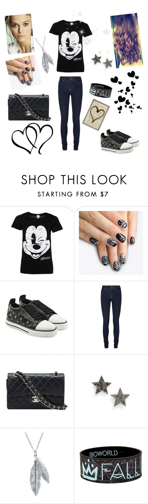 """""""For beautiful day"""" by eliskiku ❤ liked on Polyvore featuring Disney, alfa.K, RED Valentino, Chanel, Dana Rebecca Designs, Nina B and Natural Curiosities"""