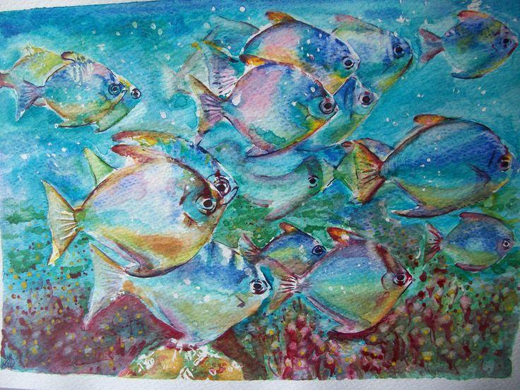 Branco dei pesci, acquerello, dipinto originale , by pupazziconsorriso, 30,00 € su misshobby.com