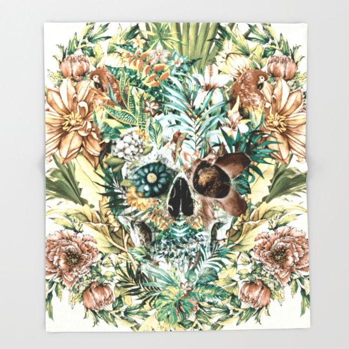 Skull IV Throw Blanket #skull #flowers #collage #tropical #wild #animals #home #decor #leaves