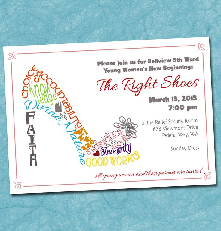 Print Yourself Invitation for New Beginnings, Night of Excellence, Shoe Typography, Young Women Value Colors, Stand Ye in Holy Places.