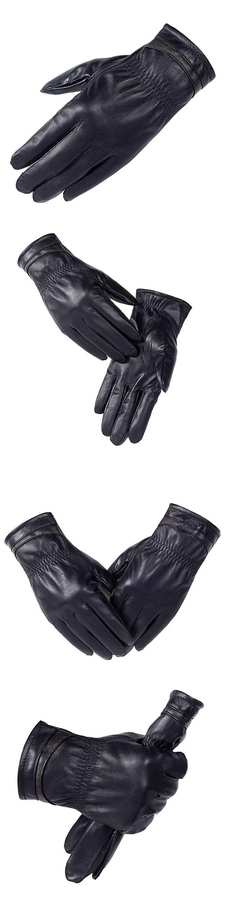 KUYOMENS New Designer Luxury Mens Gloves High Quality Genuine Leather sheepskin Mittens Warm Winter Gloves for Male Glove luvas