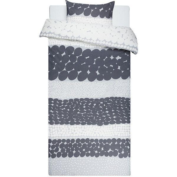 Marimekko Jurmo Duvet Set - Single (185 CAD) ❤ liked on Polyvore featuring home, bed & bath, bedding, duvet covers, grey, marimekko bedding, cotton duvet cover set, grey bedding, cotton pillowcases and marimekko