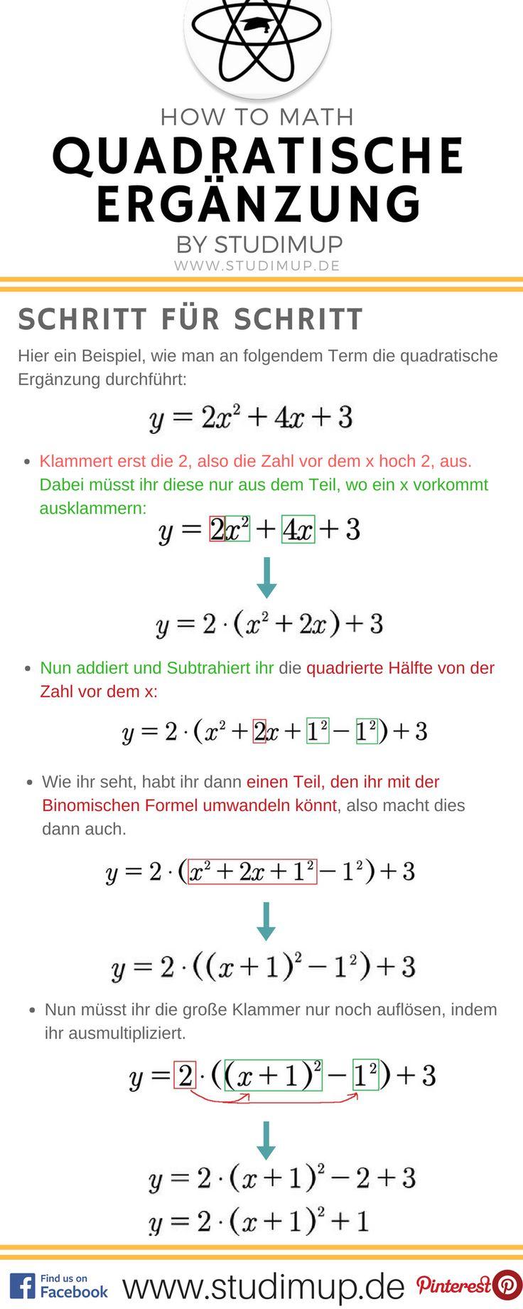 Quadratische Ergänzung im Mathe Spickzettel einfach Erklärt von Studimup. Mit Schritt für Schritt Anleitung an einem Beispiel.