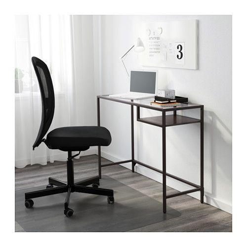 VITTSJÖ Laptop table, black-brown, glass black-brown/glass 39 3/8x14 1/8