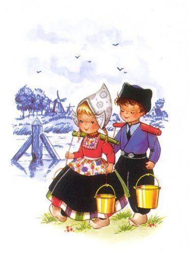 Dutch couple carrying water buckets