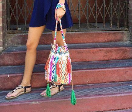 Designer Ladies Bohemian Hippie sling bag.  Shoulder bag, drawstring festival bag. Summer crossbody beach bag.  Ethnic inspired tassel bag