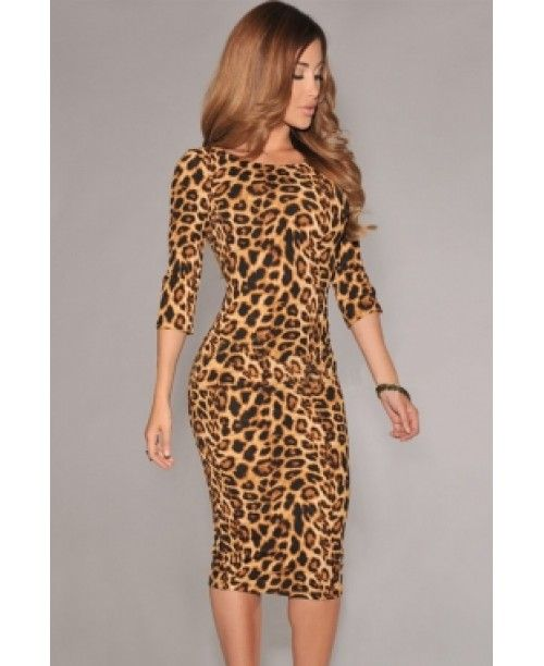 Rochie cu imprimeu leopard si spate in V