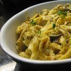 Foto recept: pasta met kip en champignons in roomsaus
