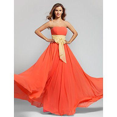 A-line Strapless Floor-length Chiffon Bridesmaid Dress (808914) – USD $ 79.19