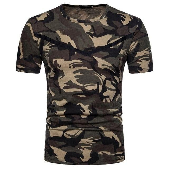 Summer Men Compression Camouflage T-Shirt Short Sleeve Sport Quick Dry Tee Tops