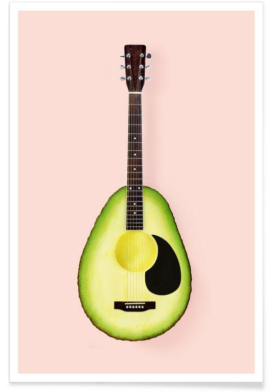 Avocado Guitar als Premium Poster door Paul Fuentes | JUNIQE