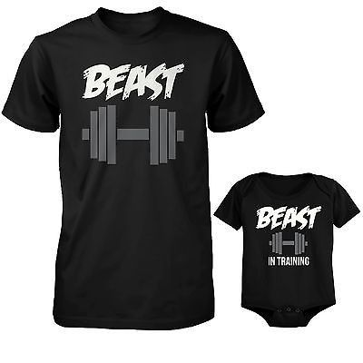 Daddy Beast and Baby Beast in Training Matching T-Shirt and Bodysuit Set