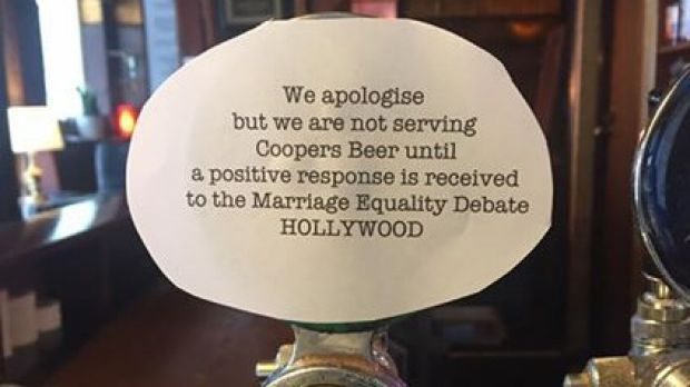 A number of pubs have vowed to take Coopers beer off their taps after a political marketing stunt backfired disastrously on the South Australian brewer.Pubs boycott Coopers beer following Bible Society marriage equality marketing campaign.