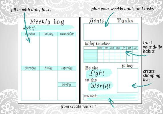 Mint colored printable weekly planner weekly organizer