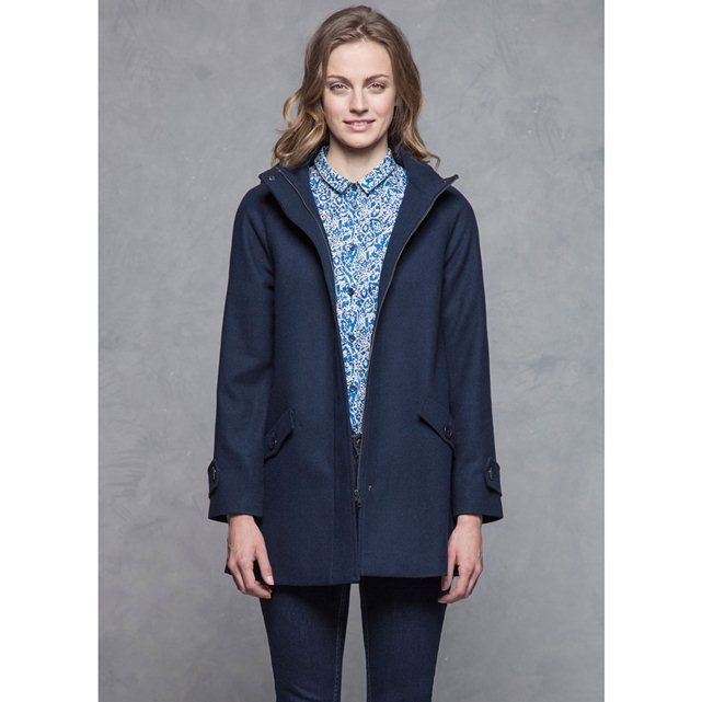 HOODED WOOLCLOTH COAT WITH HIGH NECK