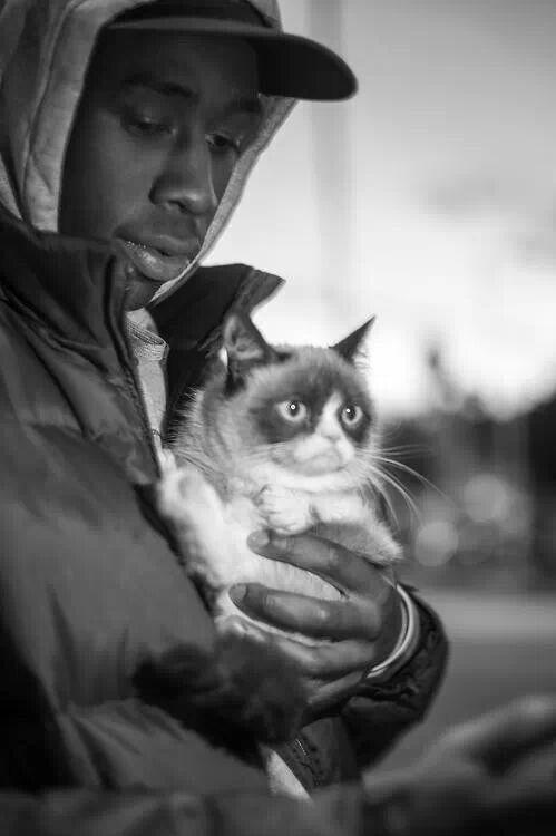 Tyler the creator with grumpy cat
